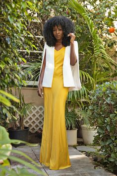 White Cape Blazer + Yellow Maxi Slip Dress