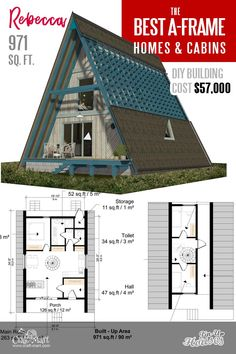 Look at the most popular A-frame house plans. All plans feature professional sets of drawings and clear step-by-step building instructions. A Frame Floor Plans, A Frame House Plans, Small House Floor Plans, Cabin Floor Plans, A Frame Cabin, Plan Chalet, Triangle House, Affordable House Plans, Build A Frame
