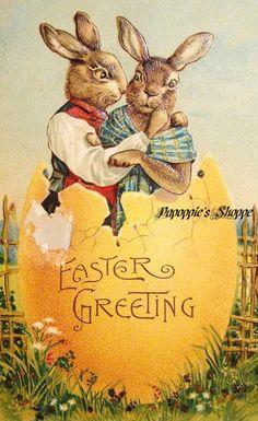 Vintage Easter Bunnies Card