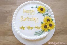 Name Birthday Wishes Decent Cake With Sunflowers.Create Name Cake Online.Edit Text on Cake.Sunflower Cake With Custom Name.Personalize HBD Cake With Friend Name Sunflower Birthday Cakes, Sunflower Cakes, Birthday Cake With Flowers, Beautiful Birthday Cakes, Happy Birthday Cakes, Birthday Wishes, Cake Frame, Birthday Cake With Photo, Cake Online