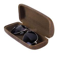 e3d11aa6a23 Leather Hard Case Clam Shell Eyeglass Reading Optical Glasses Storage Box