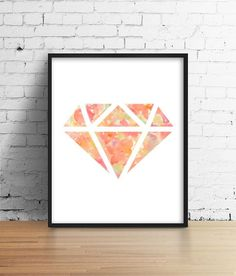 floral diamond makeup art painting print room decor Typographic Print girly wall decor framed quotes bedroom office tumblr room decor 8x10