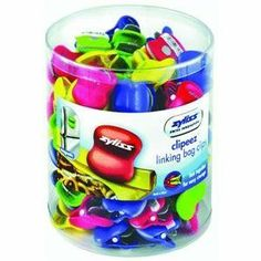 Bag Clip, CLIPEEZ BAG CLIPS by Zyliss-DKB. $13.60. Zyliss reinvents the kitchen tool. Clipeez linking bag clips - small. Close up foods, chips, and more with color and style. Rubberized front lip creates a secure grip. Clip stays on every time. Multiple clips link together for easy storage and retrieval. Perfect for closing smaller bags. Fun and convenient way to drive bonus impulse sales of this popular kitchen helper. Display shows off colorful small Clipeez l...