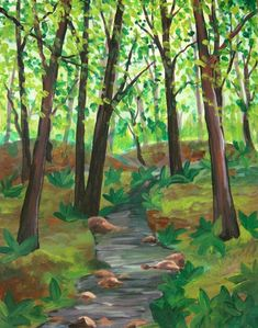 How To Paint A Forest In The Summertime - Happy Family Art