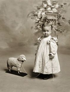 +~+~ Antique Photograph ~+~+  Little girl with lamb pull toy.