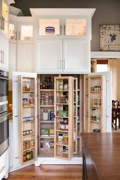 30 Brilliantly Organized Pantry Ideas To Maximize Your Storage #pantry #kitchen #shelves #storage #organization #closet #doors Kitchen Storage Solutions, Diy Kitchen Storage, Kitchen Pantry, Kitchen Decor, Kitchen Ideas, Patio Kitchen, Kitchen Updates, Kitchen Tables, Kitchen Trends
