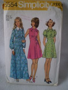 Vintage Simplicity 5554 Sewing Pattern Misses Dress by Bizzard, $6.00 This is the pattern I made in Home Ec in 1972.
