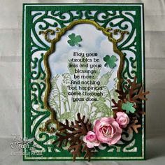 Papercrafts by SaintsRule! ~ Our Daily Bread Designs products - Lift is a Gift Stamp set, St. Patrick's Day stamp set, Vintage Labels Die, Vintage Flourish Pattern Die, Fancy Foliage Die
