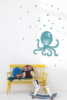 Ferm-living-kids-room-pastel-octopus-wall-sticker-yellow-bench