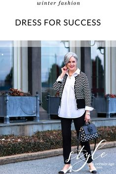 Talbots Dress For Success, Oprah Magazine, and women in the workplace Classic Outfits, Stylish Outfits, Black Ankle Pants, Grown Women, Dress For Success, Business Attire, Fashion Over 50, White Fashion, Looking For Women