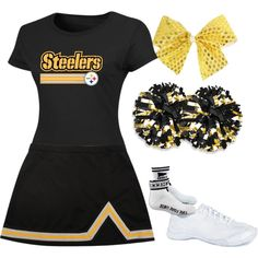 The Steelers don't have cheerleaders, but this makes a fun Halloween costume, anyway. Steelers Cheerleaders, Cheerleading Uniforms, Cheer Uniforms, Steelers Fans, Pittsburgh Steelers, Badass Halloween Costumes, Halloween Dress, Cheer Outfits, Dance Outfits