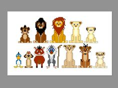 THIS IS FOR A PDF PATTERN ONLY.    Lion King 2 Pixel People Pattern  Pattern measures 10 x 5 on 14 count cloth.    Characters include: young Kovu, adult Kovu, Simba, adult Kiara, young Kiara, Zazu, Timon, Pumbaa, Rafiki, Zira, Nuka, Vitani    Digital download includes:  -Color image of pattern for reference  -Pattern in color block format  -Pattern in symbols format  -Both pattern versions include floss color list (actual floss not included)    Refunds are not available on digital downloads…