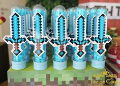 Minecraft Party Games, Minecraft Party Decorations, Minecraft Birthday Cake, Minecraft Crafts, Easy Minecraft Cake, Minecraft Sword, Hama Beads Minecraft, Exploding Gift Box, Mini Craft