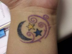 To the moon & back... My tattoo with the kids birthstones as stars
