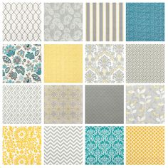 Fabric for Grey & Yellow Rooms Oh wow, these fabric designs are pretty awesome! Lovin' that white and gray stripey one with hints of yellow.and the purtty yellow one in the bottom corner. Yellow Gray Room, Teal And Grey, Yellow Rooms, Grey Yellow Bedrooms, Floral Bedspread, Grey Fabric, Yellow Fabric, Yellow Curtains, My New Room
