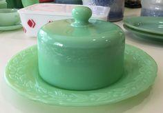 McKee Jadeite Laurel Pattern Cheese Dome Dish & Cover ~ Jadite Green Milk Glass