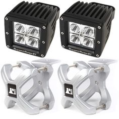 Large X-Clamp and Cube LED Light Kit, Silver, Pair by Rugged Ridge