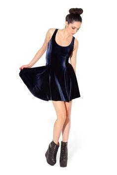 Velvet Deep Blue Evil Skater Dress - XS - BNWT