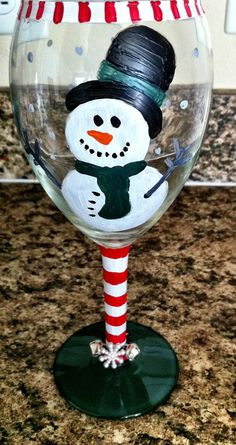 Holiday hand painted wine glass by AmandaNicole5 on Etsy, $15.00