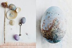 easter eggs ideas, realisation and photography by dietlind wolf http://dietlindwolf.blogspot.com.au/2015/03/eggs.html  (The egg on the right in this pin fascinates me because I have No Idea How She Did It, and I really, really want to know, or at least experiment myself. It's like the best, most organic parts of a Klimt, without the fuss - or like a Byzantine mosaic, abstracted.)