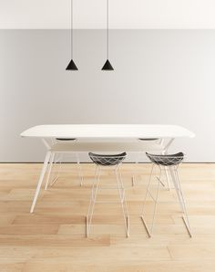 kobi stools by Patrick Norguet + biplane high table by Alberto Meda
