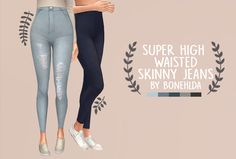 "bonehlda: "" bonehlda: "" super high waisted skinny jeans ""skinny jeans end up never being high waisted enough for me, a lover of crop tops, so i made some suuuper high waisted skinny jeans. come in 5..."