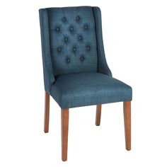 Treat yourself to the best seat in the house with our stylish accent chair. Its tufted upholstery, chic sleigh design and rich brown legs beautifully combine fashion and function.