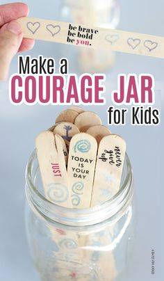 Encourage your kids with a courage jar! A simple DIY with inspiring words for the whole family. Part of this month's Family Dinner Book Club and perfect for the new school year! - Kids education and learning acts Self Esteem Activities, Counseling Activities, Art Therapy Activities, School Counseling, Activities For Kids, Emotions Activities, Social Skills Activities, Art Therapy Projects, Mindfulness For Kids