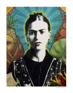 Mixed Media  Young Frida Kahlo  Giclee print  by arribachica