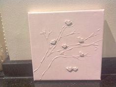 Lijm op canvas, houten decoratievogeltjes Xenos, in 1 kleur schilderen, acrylverf.