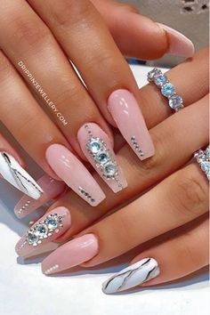 Baby Blue Nails, Pink Ombre Nails, Rose Gold Nails, Diamond Nails, Diamonds On Nails, Silver And Pink Nails, Pink Bling Nails, Bling Nail Art, Fancy Nails
