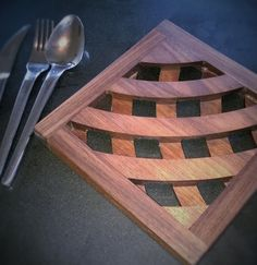 Black walnut wooden trivet