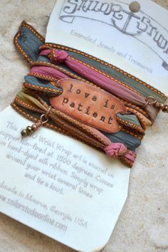 Boho Silk Wrap Bracelet- LOVE IS PATIENT- yoga wrap- ribbon bracelet- shabby chic