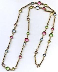"""Vtg 2 Size Swarovski Pastel Bezel Crystal Bead & Bar Link GoldTone Necklace 30""""  $44.95"""