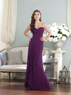 Loving this long purple bridesmaid dress from Sophia Tolli - gorgeous sweetheart neck and chiffon skirt! #weddingideas