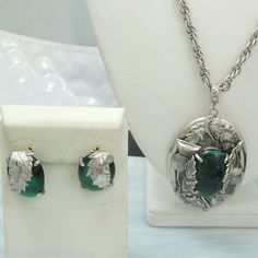 Whiting Davis Thistle Necklace Earrings Vintage Set Large Green Cabs | eBay