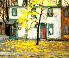 Toronto Houses, Autumn - Lawren Harris Group Of Seven Artists, Group Of Seven Paintings, Emily Carr, Canadian Painters, Canadian Artists, Abstract Landscape, Landscape Paintings, Monuments, Tom Thomson Paintings