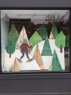 Using card cut-outs to create a fabulous shop window. This could also work as a cost-effective craft fair display. Christmas Store Displays, Store Window Displays, Craft Fair Displays, Christmas Window Display Retail, Display Ideas, Display Windows, Christmas Windows, Cheap Christmas, Winter Window Display