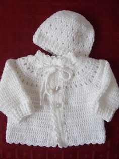 Old fashioned baby Crochet Baby Sweater Pattern, Baby Sweater Patterns, Crochet Coat, Baby Girl Crochet, Crochet Baby Clothes, Newborn Crochet, Baby Blanket Crochet, Baby Patterns, Baby Pink Clothes