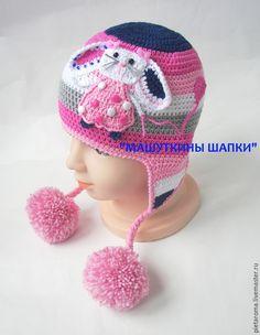 """Купить Шапка""""Зайка """" - разноцветный, полосатая шапочка, полосатая шапка, шапка, шапка вязаная"""