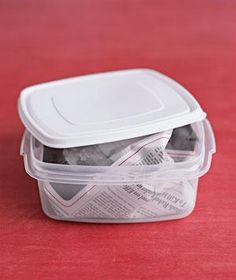 Newspaper as Food-Container Deodorizer: Stuff a balled-up piece of newspaper into a plastic container that has developed a funk, and let it sit overnight. By morning the paper will have absorbed the offending smell.