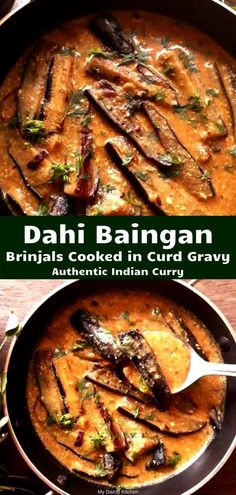 Dahi Baingan is an easy eggplant curry recipe that can be served as main course or as side dish. This is perfect blend of spicy and sour taste. This is Punjabi Dahi Baingan or Dahi Baingan in North In Brinjal Recipes Indian, Indian Eggplant Recipes, Eggplant Dishes, Indian Vegetarian Recipes, Indian Recipes, Eggplant Curry Indian, Indian Curry Vegetarian, Punjabi Recipes, Indian Vegetable Side Dish