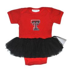 Two Feet Ahead Infant Girls' Texas Tech University Pin Dot Tutu Creeper (Red, Size 0-3 Months) - NCAA Licensed Product, Toddler Licensed at Academy...