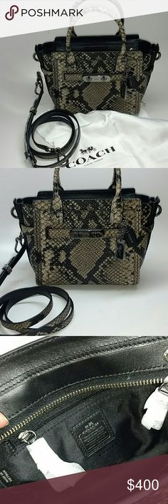 COACH Swagger 21 Carryall In Snake COACH Swagger 21 Carryall In Snake- 7.75-in. W x 6.5-in. H x 4-in. DTop zip closureInterior: zip pockets, cell phone pockets, multi-function pocketsDouble top handles with 3.75-in. drop; adjustable removable shoulder strap with 23-in. dropSelf-color stitch trimSnake-embossed leatherClean with a soft cloth.Imported Coach Bags Shoulder Bags