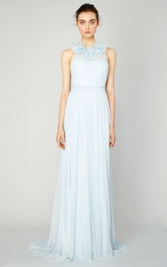 Draped Tulle Gown With Flower Neckline by Marchesa for Preorder on Moda Operandi
