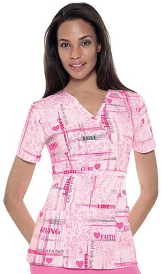 Scrubs - Baby Phat 100% Cotton Faith And Love Mock Wrap Scrub Top - Breast Cancer Awareness Nursing Uniform