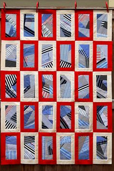 Like the alternating border. Also great idea to save pieces of shirt for a memory quilt. Plaid Quilt, Tie Quilt, Patch Quilt, Shirt Quilts, Quilt Top, Quilt Blocks, Blue Quilts, Scrappy Quilts, Easy Quilts