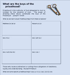 What are the keys of the priesthood?  Come Follow Me June 2013