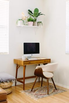 Trendy Home Office Nook Plants Office Nook, Home Office Space, Home Office Desks, Office Decor, Office Ideas, Wood Interiors, Office Interiors, Home Office Lighting, Design Furniture