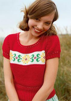 Kurzer Pullover mit Stickerei selber stricken mit einer Strickanleitung aus Rebecca- mein Strickmagazin und dem ggh-Garn TAVIRA (100% Baumwolle). Garnpaket zu Modell 14 aus Rebecca Nr. 57